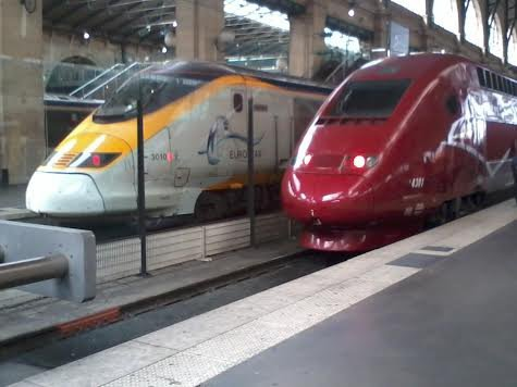 Un Eurostar et un Thalys à la gare du Nord