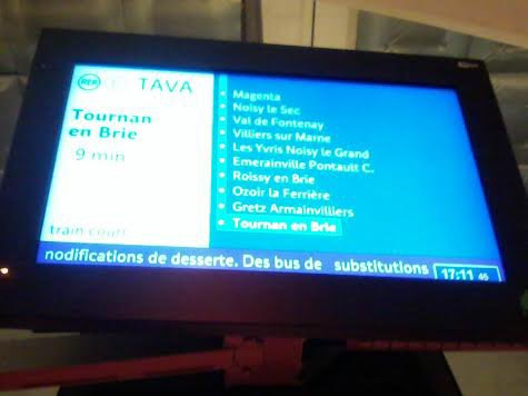 Tableau de desserte du train TAVA
