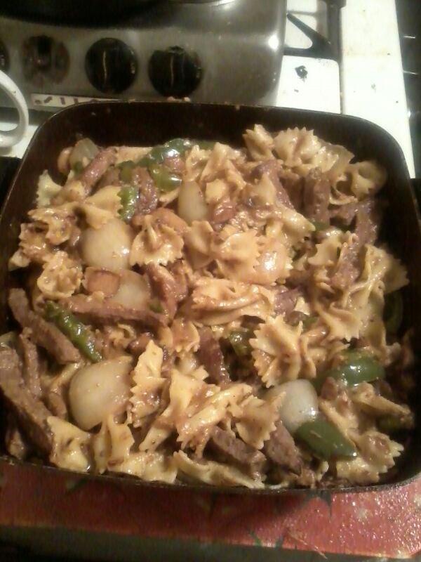 Homade pepper steak w/ bowtie noodles