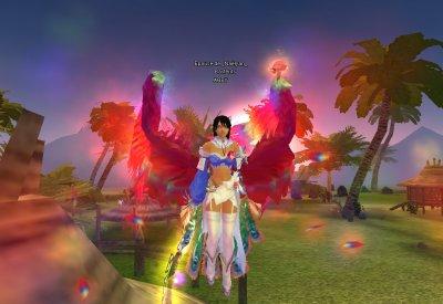 Mon personnage ABBY avec la fée ( le démon a coter de moi^^) et avec mes nouvelles ailes ( brillant plumes)