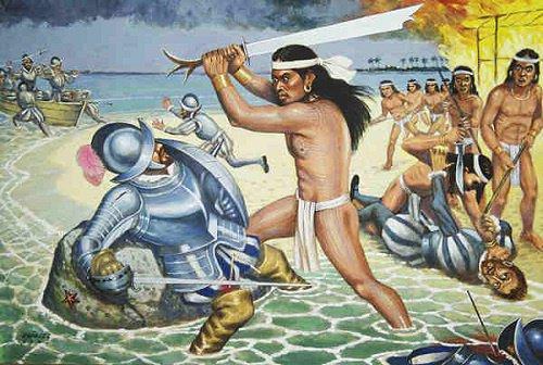 Lapu-Lapu infligeant la mort a Fernand de Magellan le 27 avril 1521