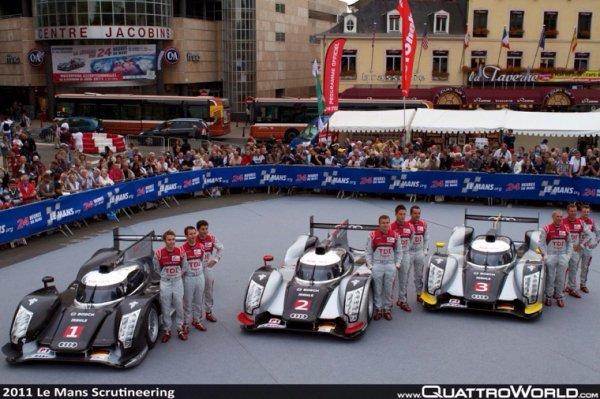 Souvenirs ... Les 3 Audi officielles (E-Tron et Ultra) sur la place des Jacobins au Mans en 2012