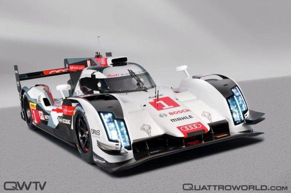 L'audi R18 e-Tron 2014 parade dans les rues du Mans le 25 avril en vue de sa présence sur le circuit pour tenter à nouveau d'imposer sa suprématie face aux Toyota TS040 et nouvelles venues les Porsche 919