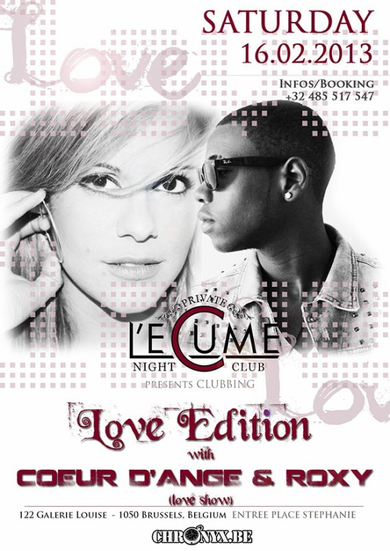 Saturday 16.02 • LOVE EDITION • Showcase: Coeur d'Ange feat. Roxy • @ L'ECUME DES NUITS • #Clubbing #LoveWeekEnd