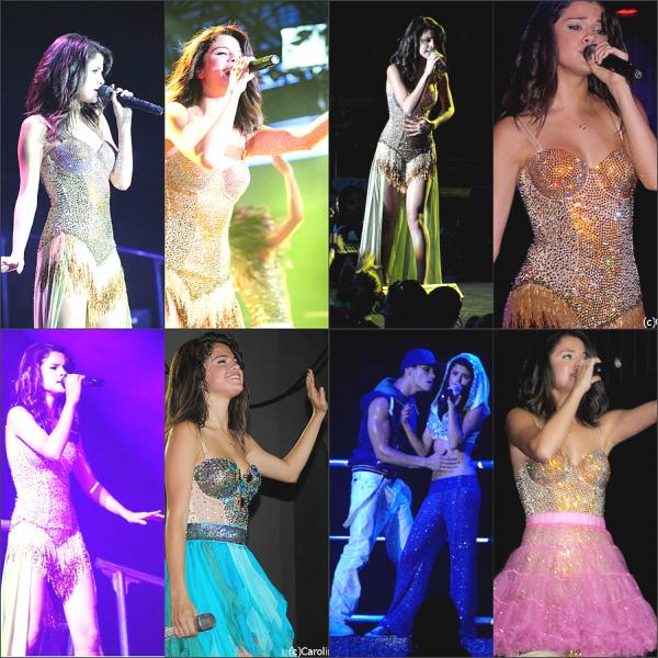 """Selena donnant sont troisième concert """" We Own The Night Tour """" à St Augustine en Floride le dimanche 31 juillet."""