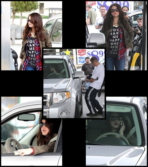17/11/2012: Selena à une station d'essence à Hollywood, California