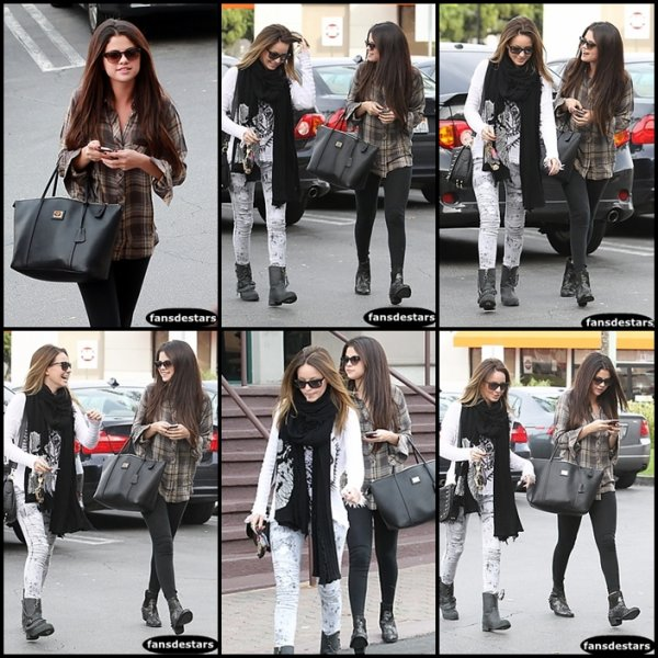04/12/2012 : Selena et son ami Samantha Droke se rendant et quittant le restaurant Yamato Sushi :)