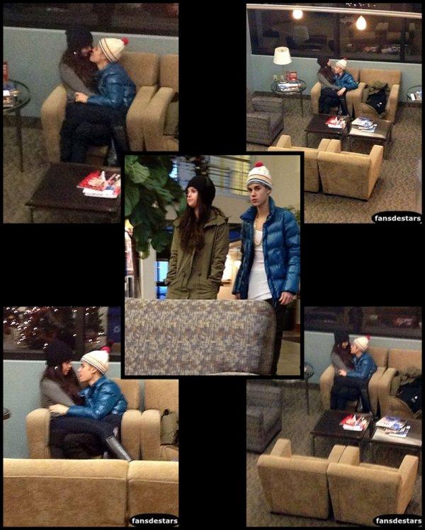21/12/2012 : Selena et Justin à un aéroport dans l'Utah (ils reviennent de quelques jours de vacances de ski)
