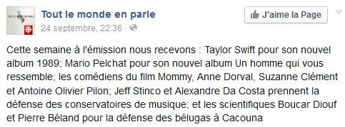 """Taylor dans """"Tout le Monde en Parle"""" le dimanche 28 Octobre 2014"""