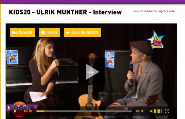 "Ulrik Munther Interview pour Kids20 / Clik on ""video""( in purple) for watch this Interview"