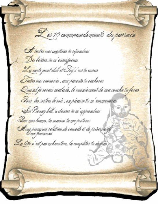 Sehr Les 10 commandements d etre parrain - Bienvenue sur le blog de  DZ33