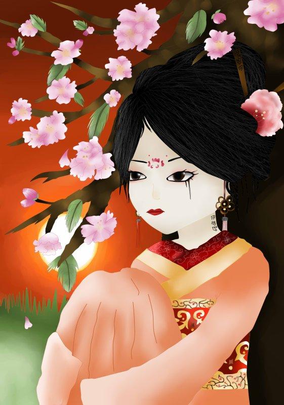 Concours Sika-chan: Geisha et fleurs de cerisiers