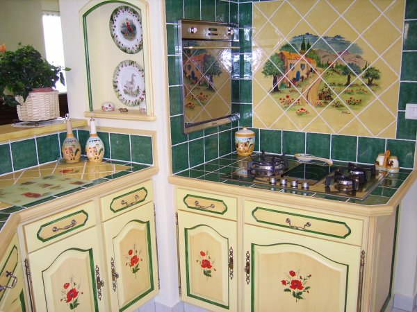 cuisine style provençal modèle coquelicots - deco services - Cuisine Equipee Style Provencale