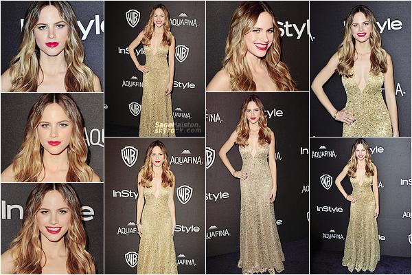 10.01.2016 •• Halston était présente a l'after-party des Golden Globes a Beverly Hills, Californie. Je n'apprécie pas tellement le look d'Halston pour cet event, j'aime bien la robe mais le quelque chose me dérange ... et son make-up, bof .. !