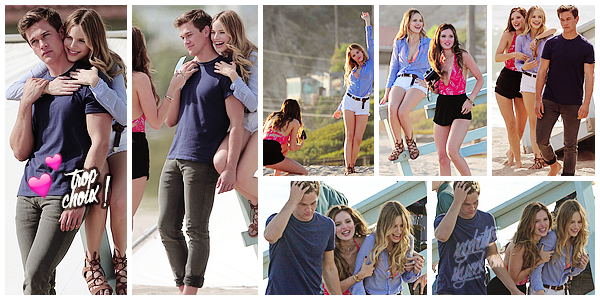"""19.04.2016 ••Halston a été vu sur le tournage de son nouveau film""""You Get Me""""a Santa Monica. Hals' et ses co-starsBella ThoneetTaylor J.Smithont été repérer pendant le tournage du film. J'aime bien sa tenue, qu'en pensez-vous ?"""