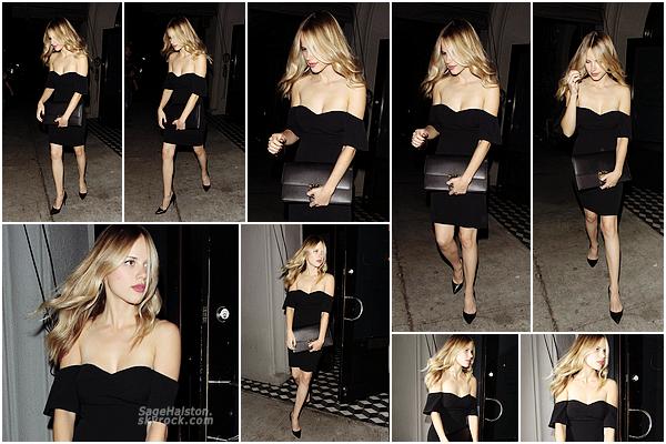 21.09.2016 •• Halston Sage a été vu quittant le restaurant Craig's a West Hollywood, CA.  Première sortie depuis plus de deux mois pour Halston, l'intemporelle petite robe noir pour aller diner, un look classique qui mérite un top.