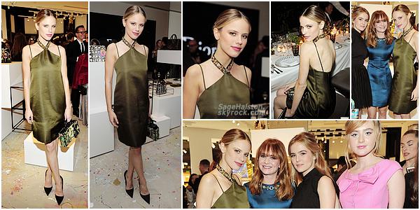 06.12.2016 •• Halston était présente à l'ouverture d'une boutique Dior a Los Angeles, CA. Halston est très élégante dans sa robe vert olive signé Dior et ses cheveux en chignon, encore un joli top pour la belle blonde !