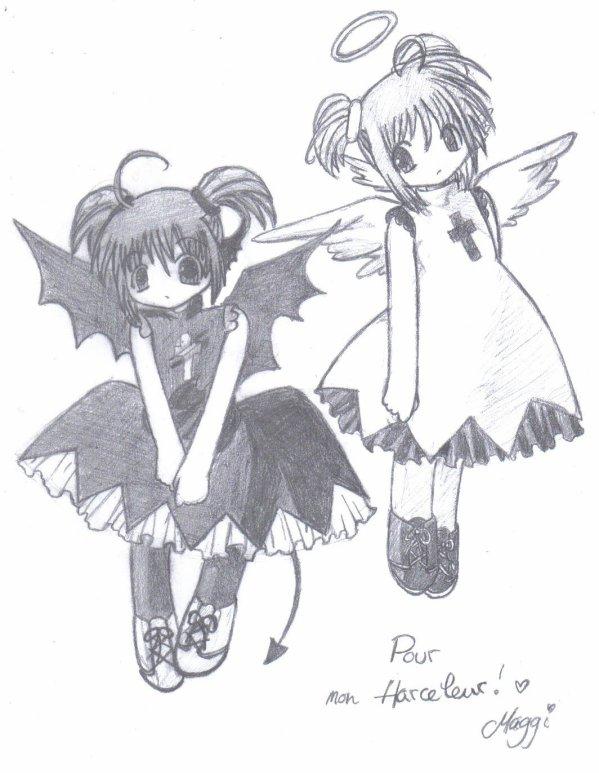 Ange ou d mon du zoom au crayon - Dessin ange demon ...
