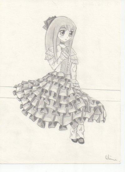 dessin manga fille robe