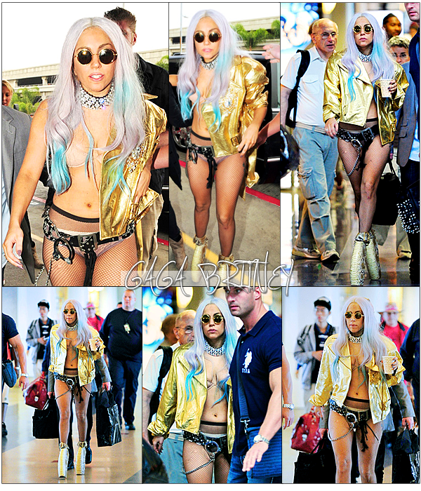 GAGA A L'AEROPORT DE LAX A LOS ANGELES LE 13 SEPTEMBRE.