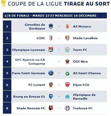 Programme de la 1/8 de Finale de la coupe de la ligue