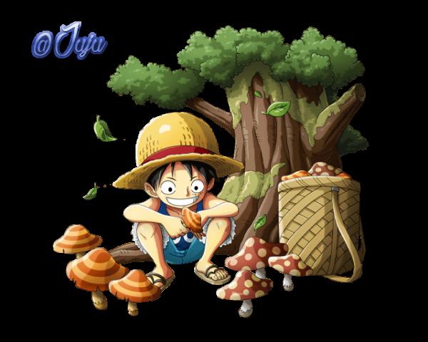 Luffy ramasse des champigons