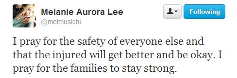 160413 {TWITTER} ♥ Melanie soutient les sinistrés de l'attentat de Boston