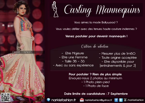 Casting Narkis Fashion - Défilé Bollywood Haute-Couture