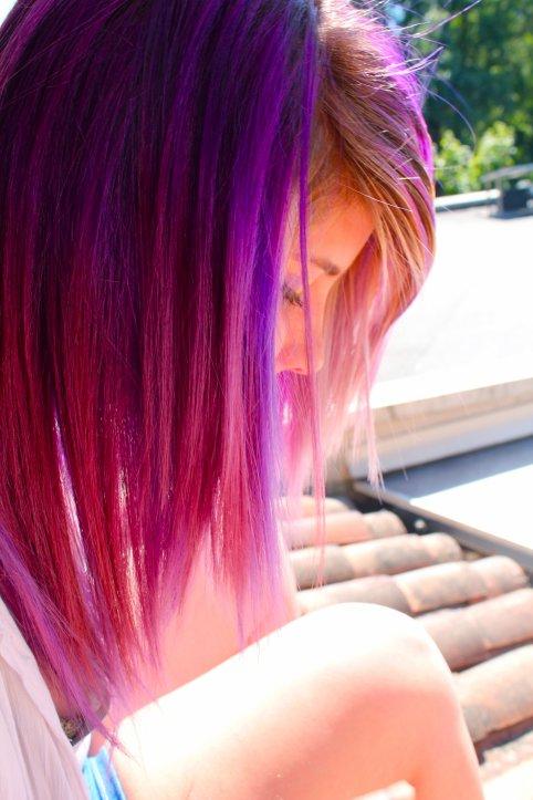 Cheveux VIOLETS et ROSES :3