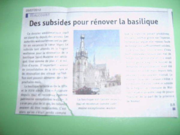 WALCOURT ARTICLE DU JOURNAL DU 25 JUILLET 2012