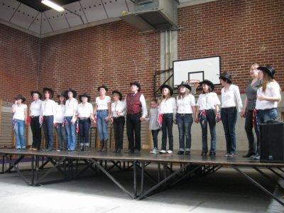 Démo à Pont-à-Celle, avec mes élèves de Viesville.