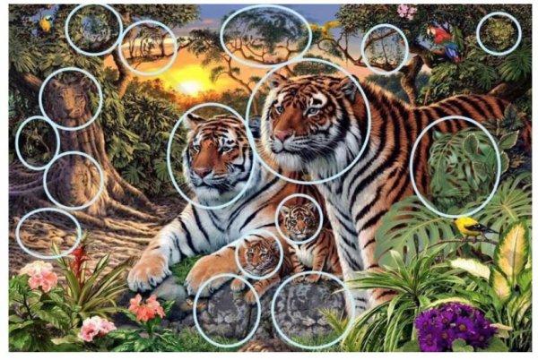 Combien de tigres voyez-vous dans ce tableau