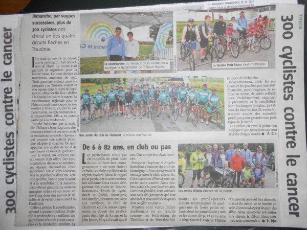 Merci Vers l'Avenir pour l'article de presse du dimanche 23 juillet 2017. Bikeforthelife avec plus de 300 cyclos motivés et souriants :-)  et aussi 2018,32¤ de dons super! RDV en 2018...