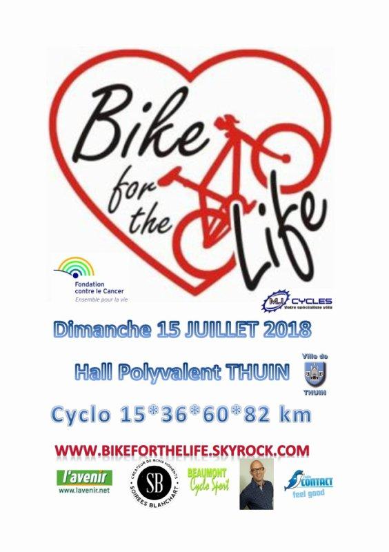 Bikeforthelife DIMANCHE 15 juillet 2018 hall polyvalent de THUIN départs entre 7h et 11h ! ;-) !!! 4 NOUVEAUX parcours pour tous les niveaux... :-)