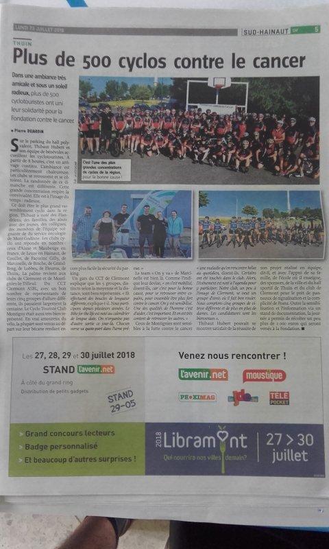 Merci Vers l'Avenir superbe article 23 juillet 2018 pour la bonne cause ! 😃😃😃
