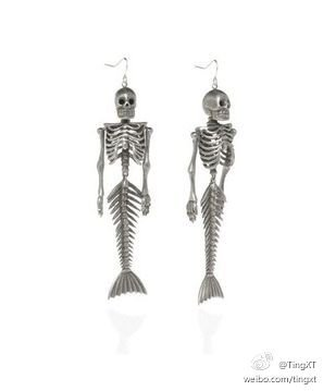 Earrings - Mermaid Skeleton