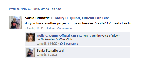 molly quinn sur FaceBook !