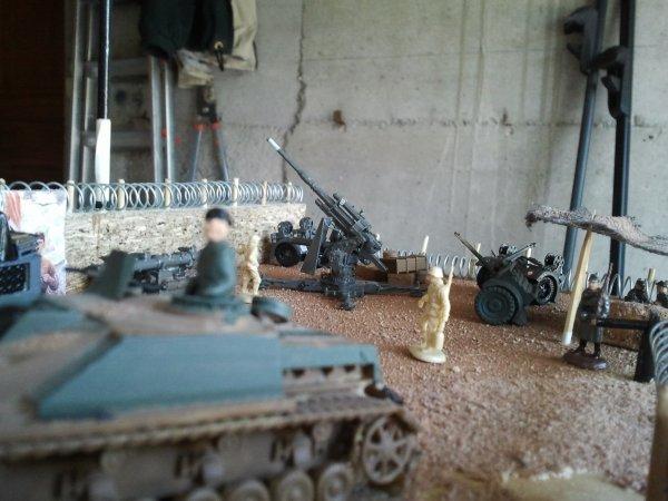 Emplacement du canon de 88 allemand sur le diorama.