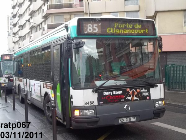 ligne 85 le bus irisbus agora line vf n 8488 veut jouer au 56 blog de ratp067. Black Bedroom Furniture Sets. Home Design Ideas