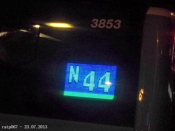 Nuit du 22 / 23 juillet 2013 : Noctilien N01, N43 et N44 à Gare de l'Est