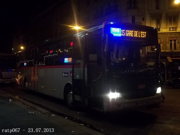 Nuit du 22 / 23 juillet 2013 : Lignes Noctilien N02, N13,N14 et N143 à Gare de l'Est