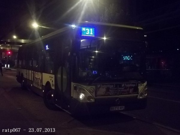 Nuit du 22 / 23 juillet 2013 : Lignes Noctilien N31 et N33 à Gare de Lyon