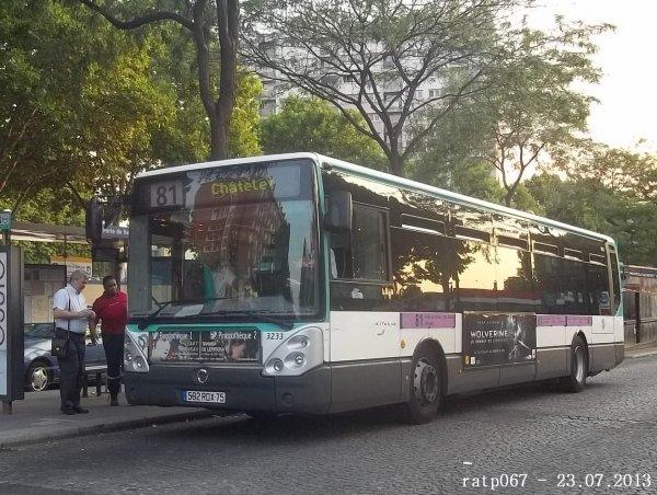 Nuit du 22 / 23 juillet 2013 : L'irisbus-iveco Citelis Line à bandeaux n° 3233 de la ligne 174 en habillage sur la ligne 81