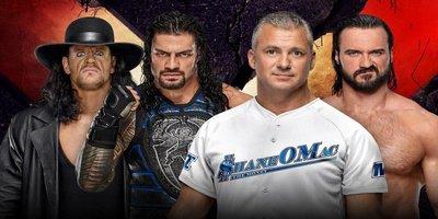 Tag-Team No Holds Barred Match. The Undertaker et Roman Reigns vs Shane McMahon et Drew McIntyre