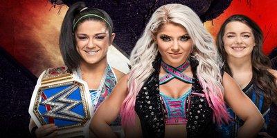 Handicap Match. Championnat féminin de SmackDown. Bayley vs Alexa Bliss et Nikki Cross