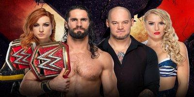 Extreme Rules Mixed Tag-Team Match. Championnat Universal et Féminin Raw. Seth Rollins et Becky Lynch vs Baron Corbin et Lacey Evans (Si Corbin et Evans perdent, ils n'auront plus droit à un match de championnat)
