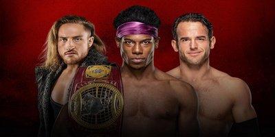 Triple-Threat Match. Championnat Nord-Américain NXT. Velveteen Dream vs Pete Dunne vs Roderick Strong