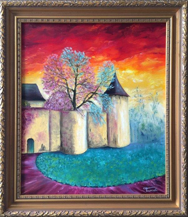 """Peinture à l'huile """"Château de Fontaine"""" Tranischi"""
