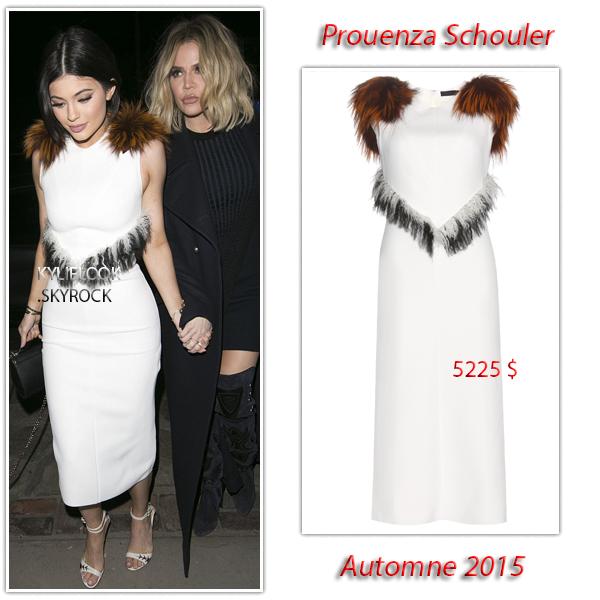 . 5 FÉVRIER 2016 Kylie et toute sa famille était présente lors de l'ouverture du Nine Zero One à Los Angeles, Kylie portrait une robe à fourrure de Prouenza Schouler à 5225$ .