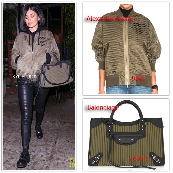 . 6 MAI 2016 Kylie est allé diner avec Jordyn Woods et Harry Hudson à Los Angeles. Kylie portait une veste Bomber de la marque Alexander Wang à 950$ et un sac à main Balenciaga d'une valeur de 1 835$ .